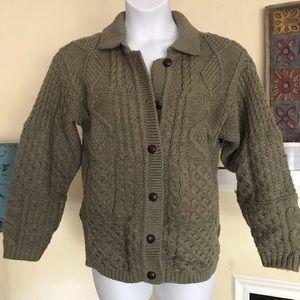 Handmade Authentic Irish Cardigan Sweater S green